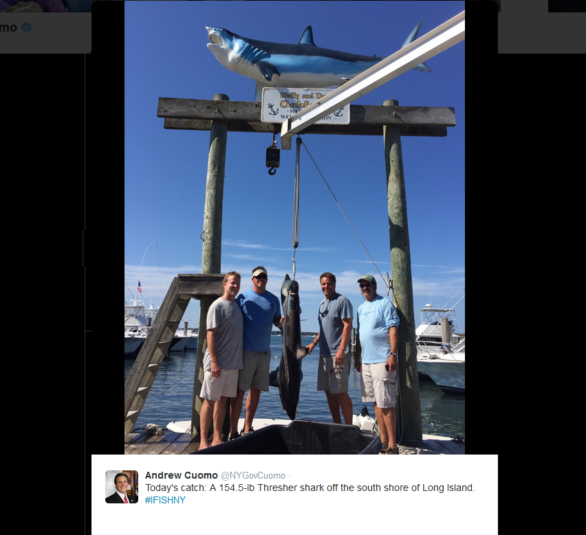 NY Gov. Cuomo reels in shark, catches conservationist wrath