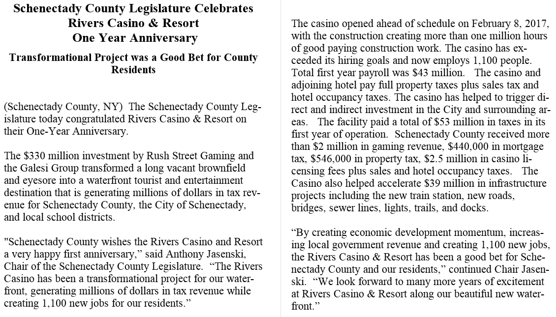 issued a statement congratulating rivers on its anniversary saying the county received more than 2 million in gaming revenue during the first year