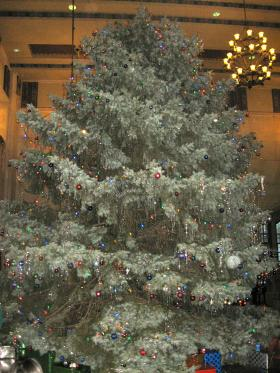The 2012 Christmas tree in the Purdue Memorial Union, selected and decorated by the Purdue Student Union Board.