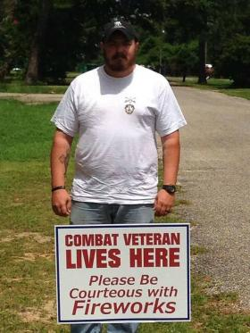 This photo has helped the campaign get its message out about how unexpected explosions may affect veterans.