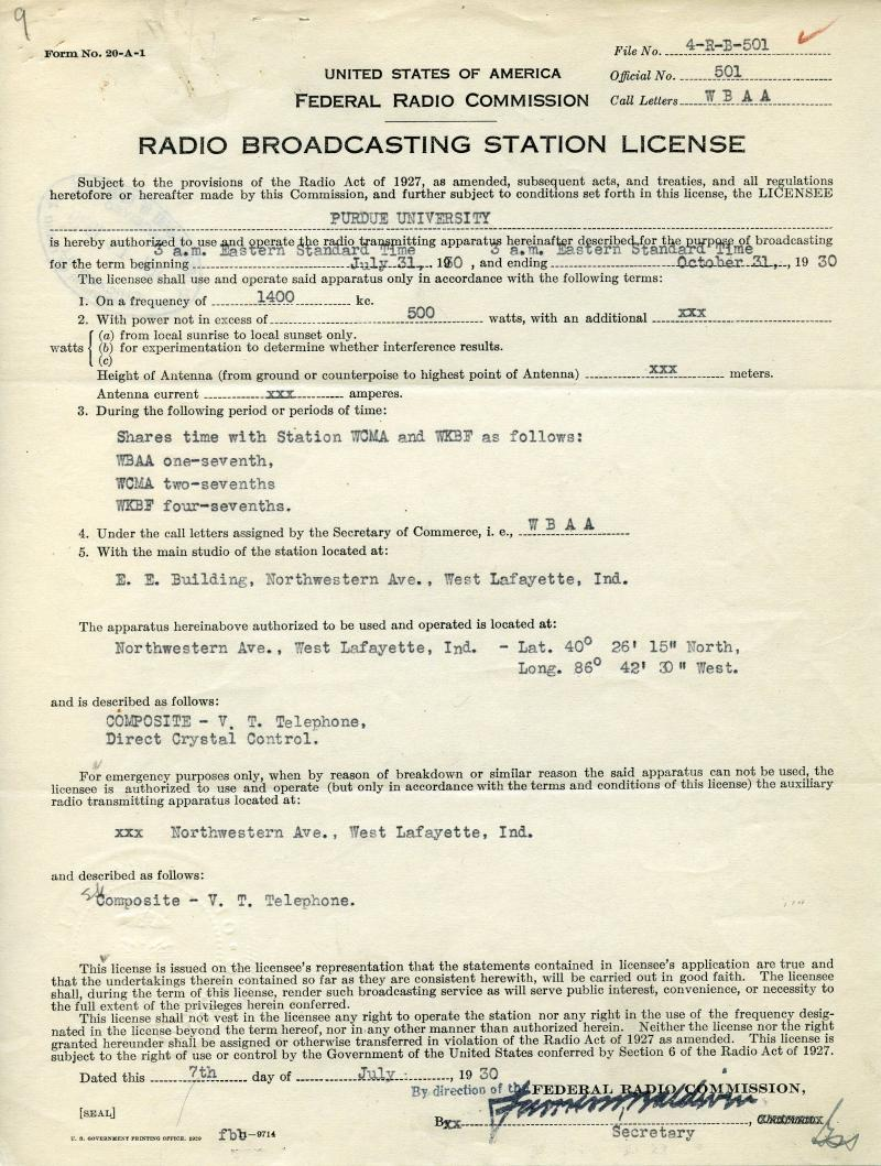 The earliest existing WBAA license.