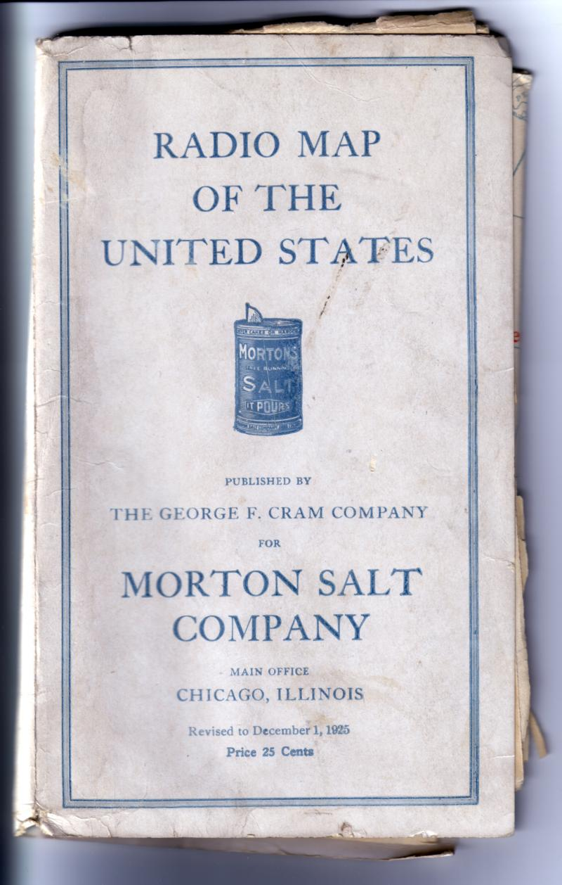 Cover of Morton Salt Radio map from 1925.