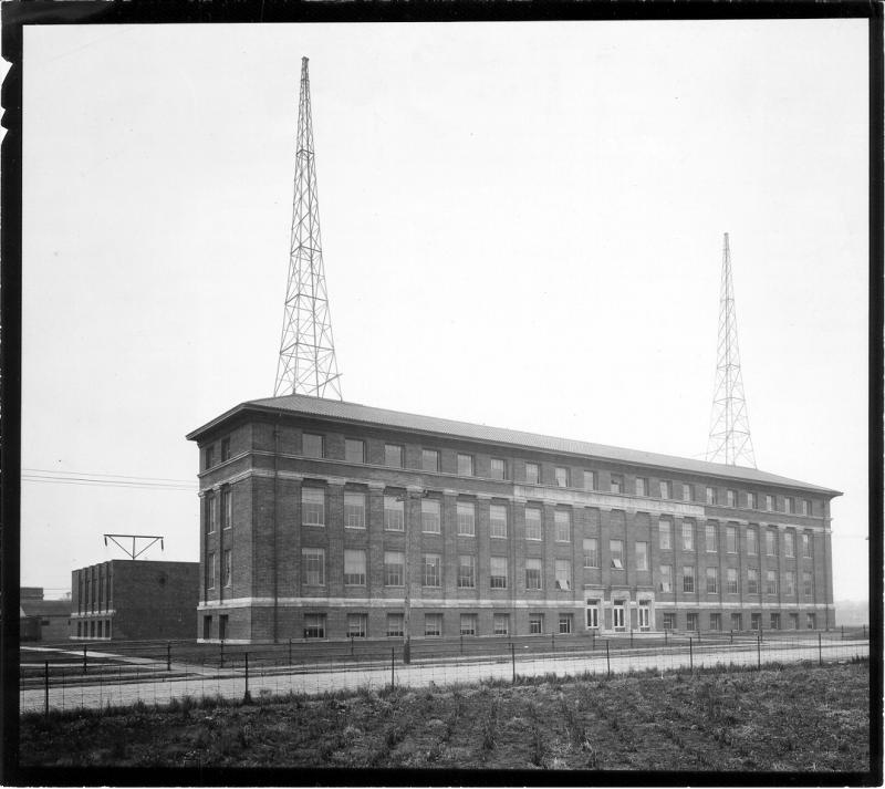 New Electrical Engineering building after construction, circa 1926. Note the towers which held the WBAA antenna. The studio was located on the top floor just to the right of the main entrance.