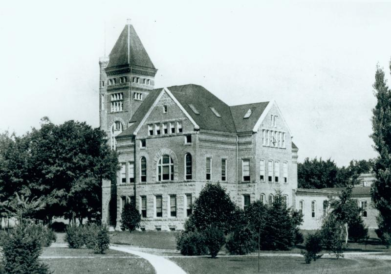 The first EE building, 1889 to 1940. The chemistry building is now located at this position.