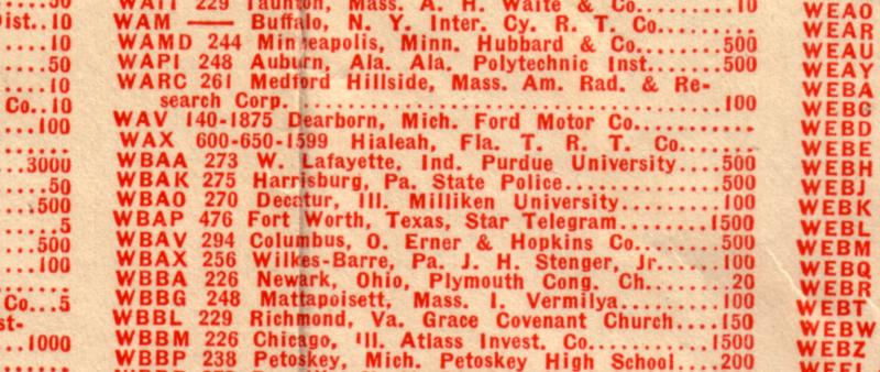 Portion of the alphabetical listing of radio stations from the Morton Salt Radio map in 1925.