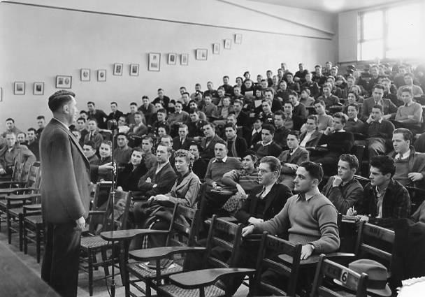 Professor Robert Phillips giving the American Institutions Lecture, January 14, 1936. Note the microphone in front of Prof. Phillips.