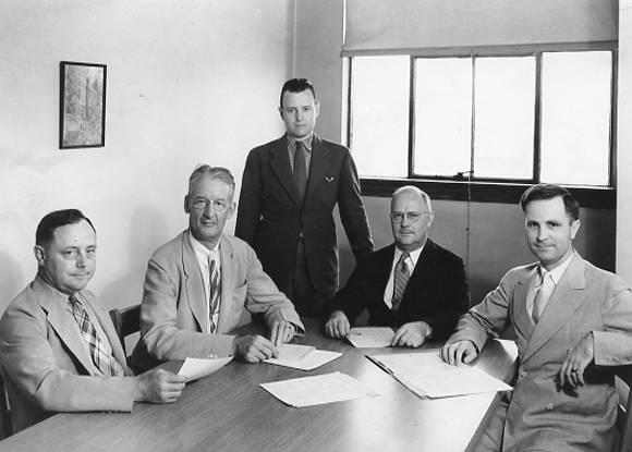 Purdue Radio Committe about 1940: Tom Johnston, Dean Harding, Al Stewart, Dean Knapp, Clarence E. Dammon.
