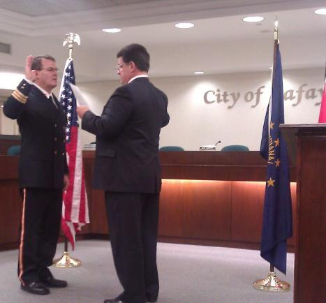 Fire Chief Richard Doyle sworn in by Mayor Tony Roswarski