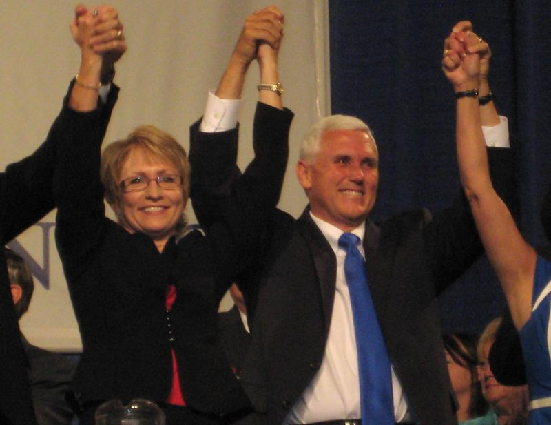 Mike Pence and Sue Ellspermann celebrate after delegates at the Indiana Republican Party State Convention nominate them for governor and lieutenant governor Saturday.