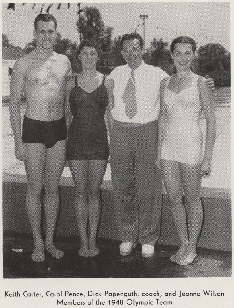 A yearbook picture of Keith Carter with fellow Olympic athletes and their coach.