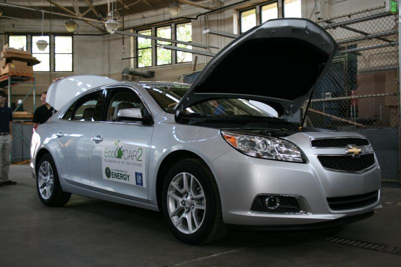 The EcoMaker's 2013 Chevy Malibu sits on display in the team's lab space on the Purdue campus.