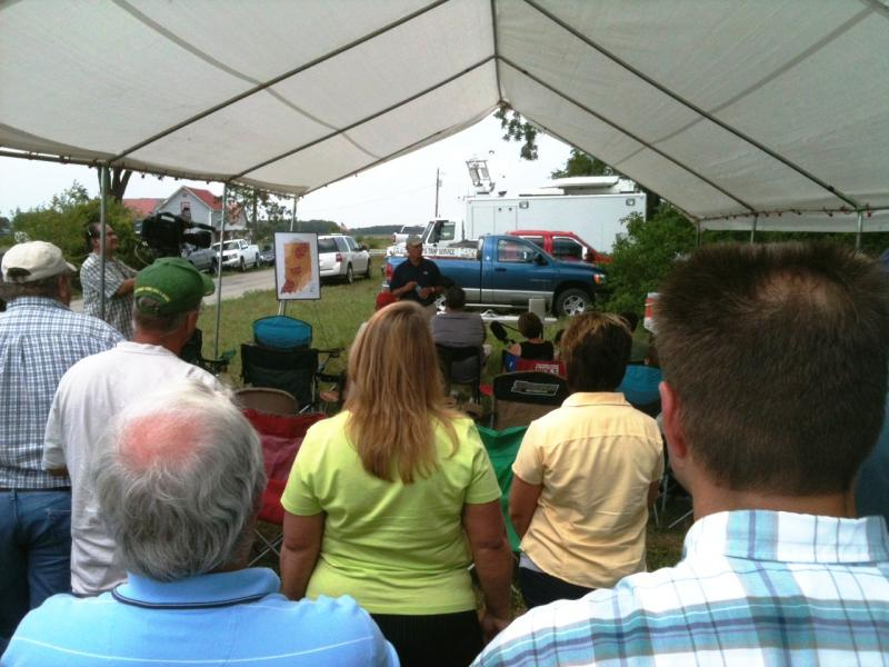 Michael Scuse, U.S. Department of Agriculture undersecretary, addresses farm families in White County about the government's response to the drought.