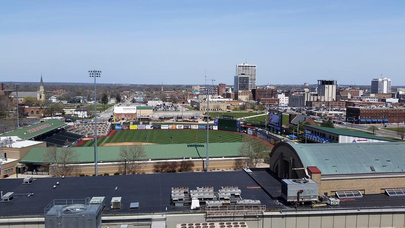 Downtown South Bend, with Notre Dame University in the distance at right, as seen from the roof of the Studebaker factory.