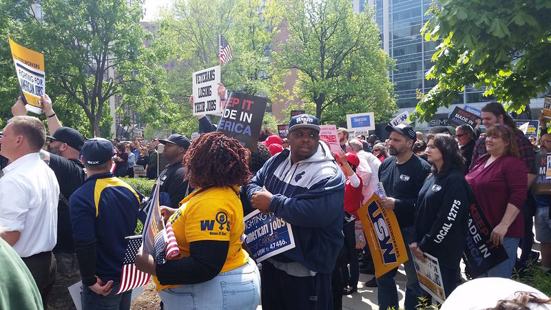 Steelworkers from around the state showed their support for fellow union members at Carrier.