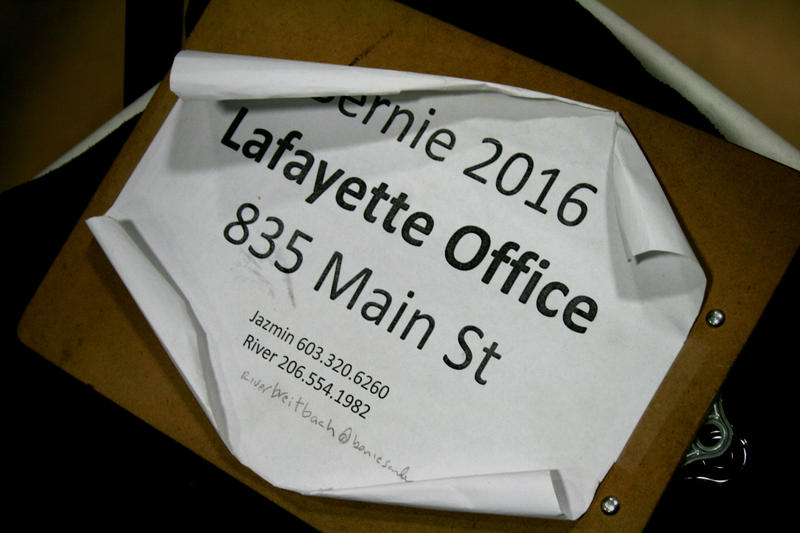 The Sanders campaign encouraged voters to not only dedicate small amounts of money, but also small amounts of their time at local campaign offices, such as the campaign's Lafayette headquarters on Main Street.