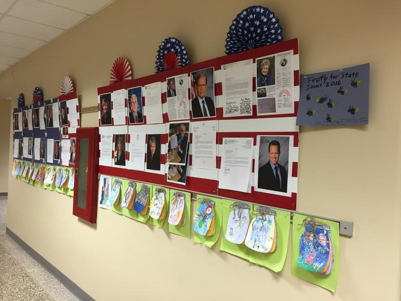 Responses from elected leaders are displayed outside Maggie Samudio's classroom.