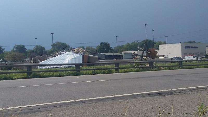 Tornadic winds flattened a Starbucks in Kokomo, Indiana, on August 24, 2016.