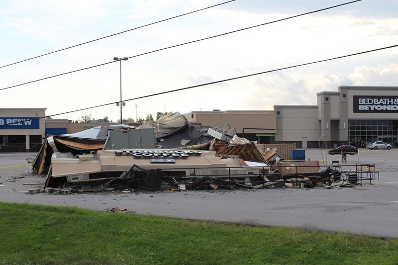 Winds flattened this Starbucks building near Markland Mall in Kokomo, Indiana, on August 24, 2016.