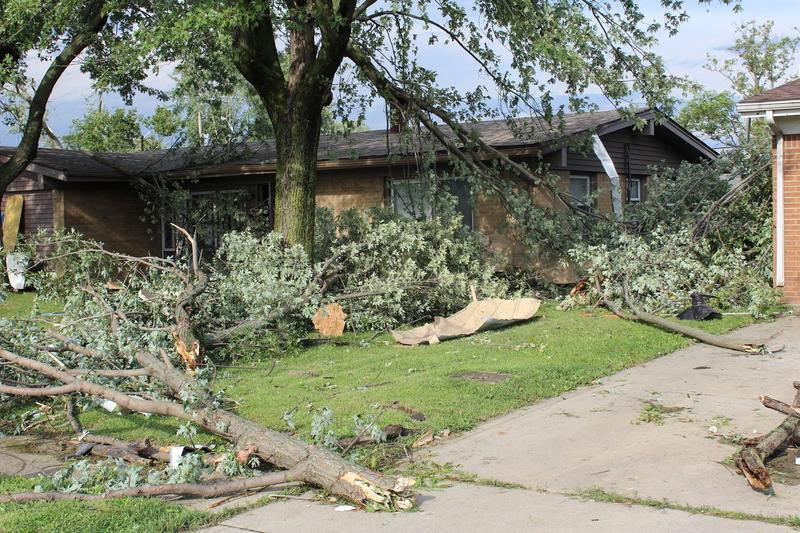The National Weather Service says an EF-3 tornado damaged property in Kokomo, Indiana, August 24, 2016.
