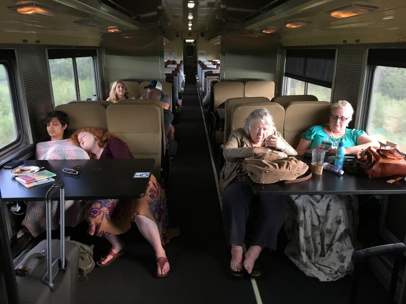 Indianapolis passengers on the coach dining car aboard the Hoosier State train August 19, 2016.