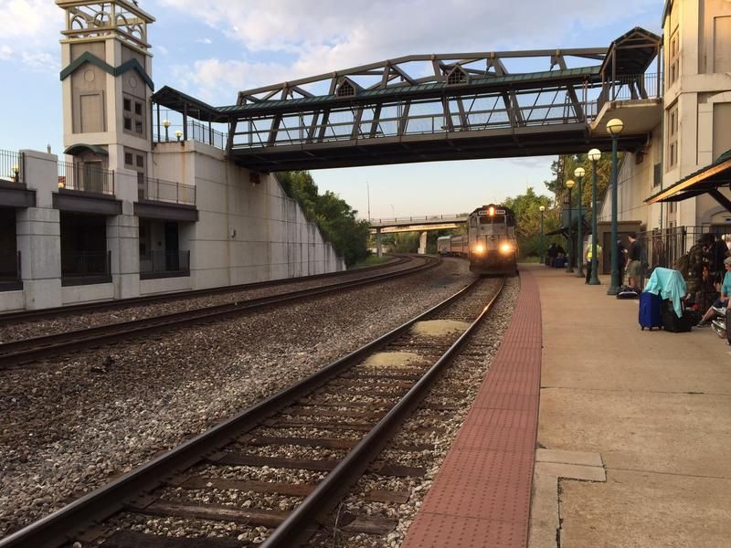 The Hoosier State arrives at the Lafayette, Indiana, train station August 19, 2016.
