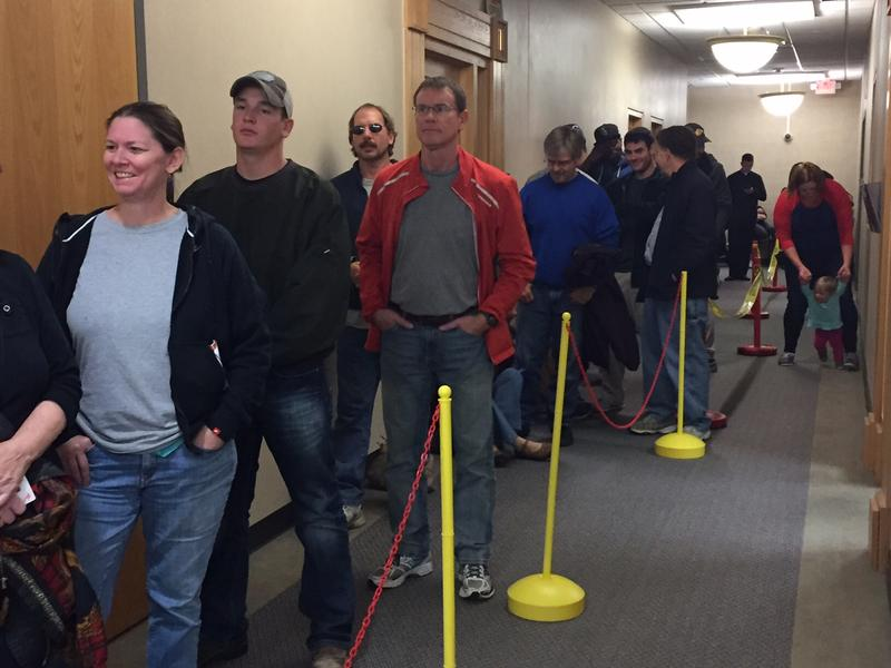 Voters wait to cast a ballot on Monday, Nov. 7, 2016, in the Tippecanoe County office building.
