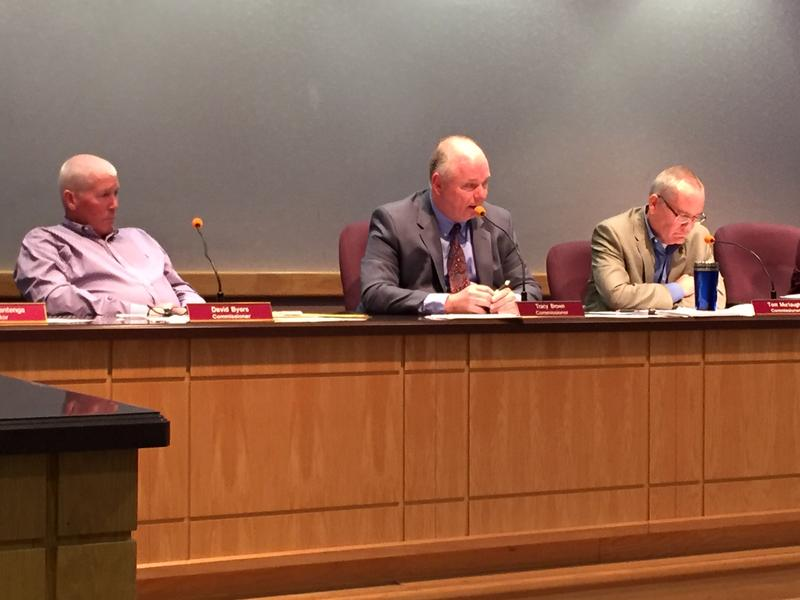 Tippecanoe County Commissioners David Byers and Tracy Brown (left) vote to create a syringe services program while Tom Murtaugh (right)
