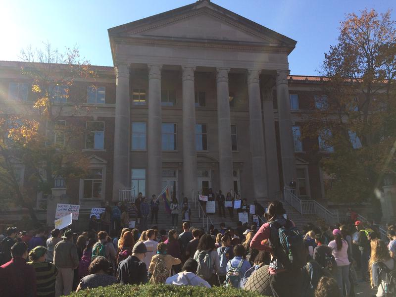 The rally drew a crowd of over 200 students.