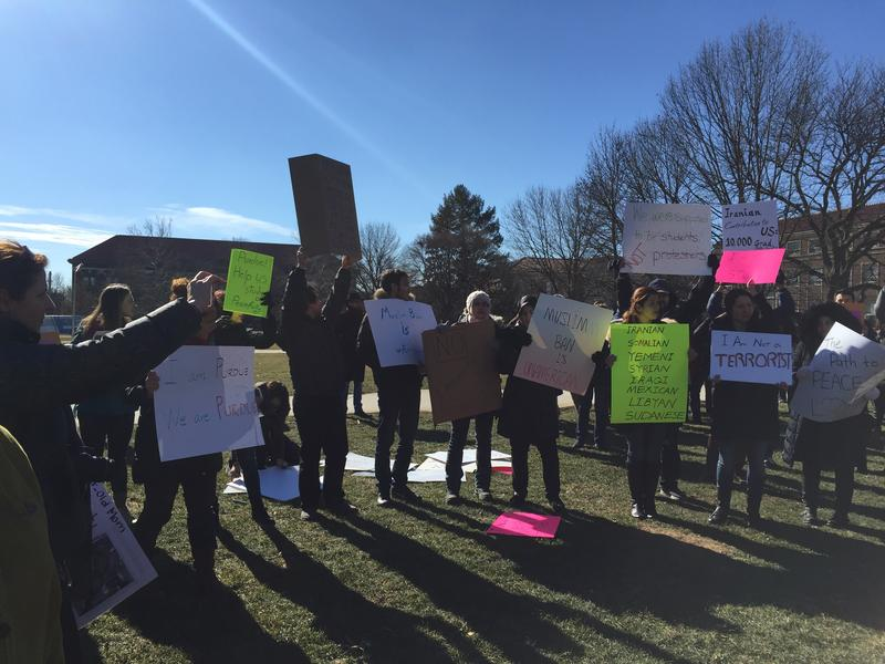 The protesters gathered at the Purdue Memorial Mall.