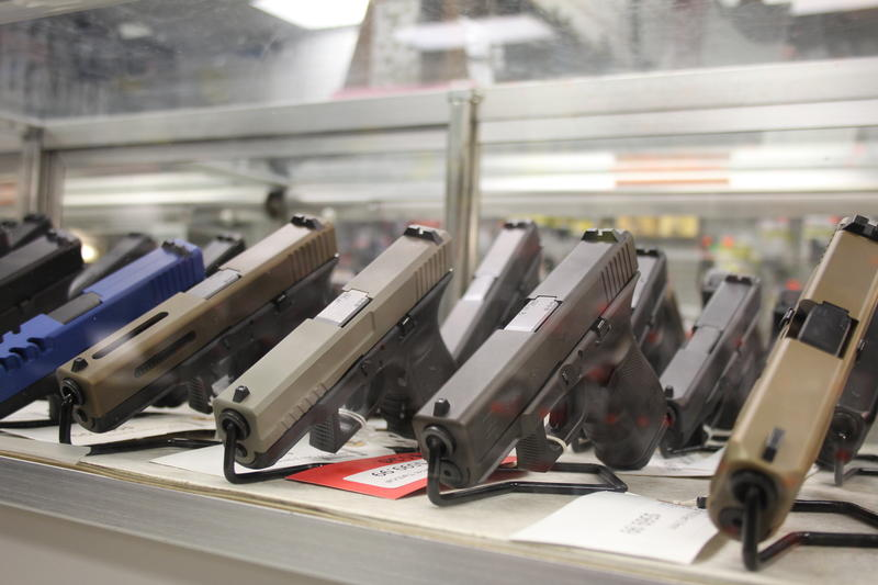 Guns on display at Applied Ballistics in Lafayette.