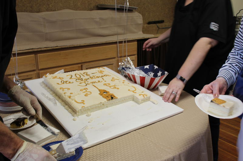 """Organizers served cake that read, """"It's Clocktower Time!"""""""