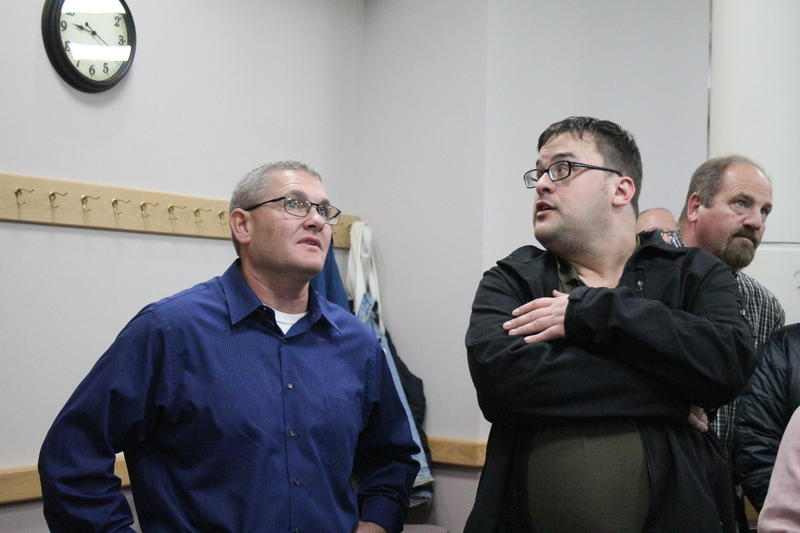 Tippecanoe County Sheriff candidate Bob Goldsmith (D) watches election results. He defeated Republican Jason Dombkowski in a tight race Tuesday night.
