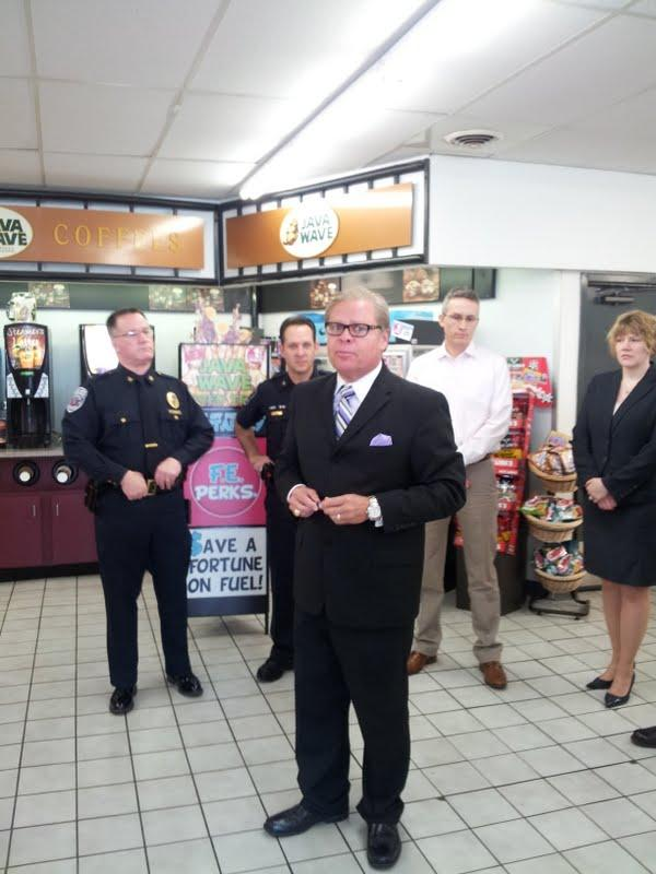 Senator Alting discusses legislation to combat Bath Salts and Spice at a gas station in Lafayette