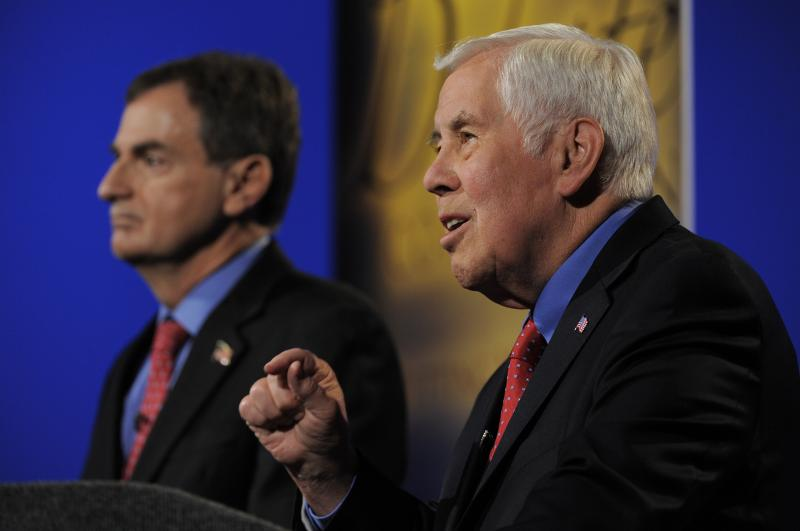 U.S. Senator Dick Lugar and Indiana Treasurer Richard Mourdock debate at WFYI in Indianapolis.