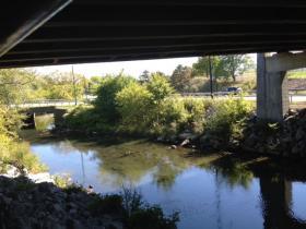 Scajaquada Creek runs alongside the Tops on Grant Street