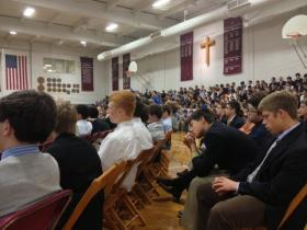 Students at St. Joseph's Collegiate Institute in Kenmore, NY listen to candidates debate in the 60th State Senate race