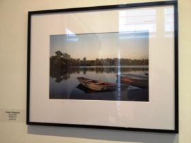 Local television personality Linda Peligrino's photo on Hoyt Lake at Delaware Park