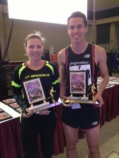 Turkey Trot winners Jacklyn Rzepecki from Rochester, MI (28:17) and Jed Christiansen from Greenville, PA (24:01)