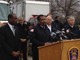 Buffalo Fire Commissioner Garnell Whitfield with Mayor Brown and firefighters at fire truck dedication