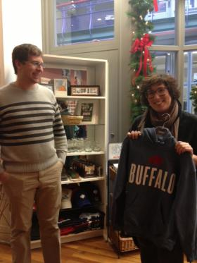 Peter Burakowski & Erin Habes with a Buffalo sweatshirt