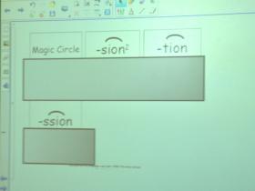 Whiteboard inside a Gow classroom