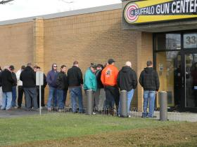 Consumers waited up to a half-hour today to purchase firearms at the Buffalo Gun Center in Cheektowaga.