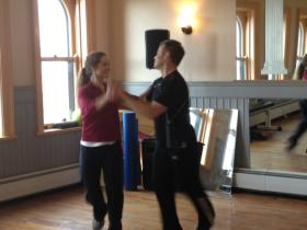 Dave Smith & Lihann Jones practice a swing dance