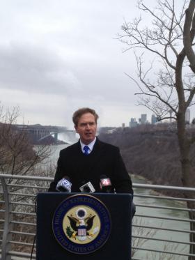 Higgins standing along the Niagara River Thursday morning