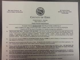 An Erie County pistol permit application