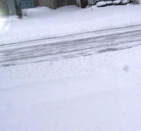 Snow covered street in metro Buffalo