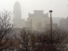 Snowy conditions in downtown Buffalo Friday morning