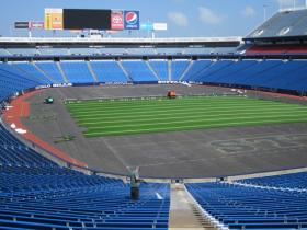 Inside Ralph Wilson Stadium when new turf was being placed