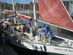 Students from Frank Sedita Academy studied the Great Lakes aboard the Spirit of Buffalo Wednesday.