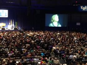 Hillary Rodham Clinton speaks to a sold out crowd at UB.